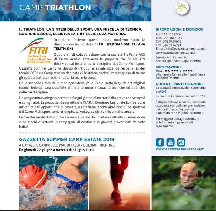 TRIATHLON CAMP GAZZETTA